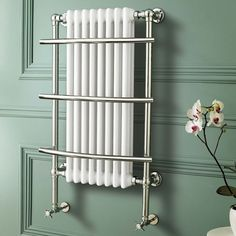 Traditional Chrome Heated Towel Rail Bathroom White Cast Iron Radiator RT09 DD in Home, Furniture & DIY, Bath, Towel Rails   eBay