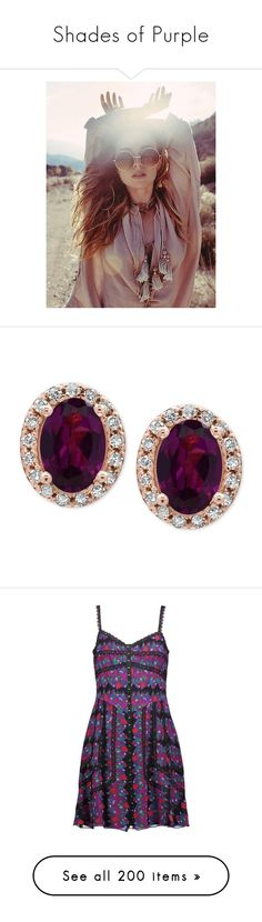 """Shades of Purple"" by amber-daylight ❤ liked on Polyvore featuring jewelry, earrings, accessories, rose gold, 14 karat gold stud earrings, 14 karat gold diamond earrings, garnet earrings, diamond earrings, 14k diamond earrings and dresses"
