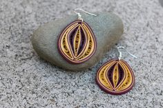 Maroon and yellow earrings/ Maroon quilling earrings/ Quilling earrings/ yellow earrings/ Paper earrings/ Cleveland Cavaliers lovers by PaperSweetly on Etsy