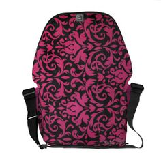 Fuchsia Damask Courier Bag