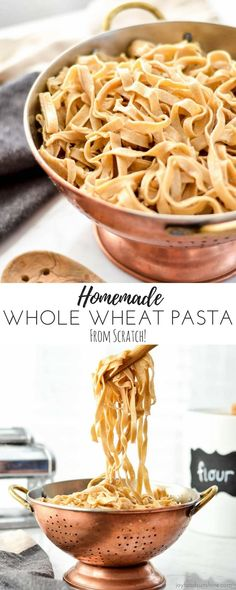 This Homemade Whole Wheat Pasta recipe makes the best noodles completely from scratch! Make a yummy main dish or side dish with this healthier pasta that tastes SO much better than boxed varieties! Wheat Pasta Recipes Healthy, Healthy Pastas, Whole Wheat Noodles, Whole Wheat Pasta, Pasta Dishes, Food Dishes, Main Dishes, Pastas Recipes, Noodle Recipes