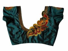 Green silk cotton embroidery blouse