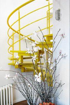 Γγρ│ Un escalier colimaçon modernisé par sa couleur jaune moutarde