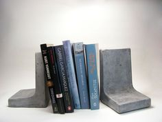 Modern Concrete Bookends by roughfusion