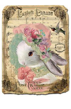Easter Bunny Images, Easter Art, Easter Crafts, Decoupage Printables, Easter Printables, Free Printables, Images Vintage, Vintage Cards, Lapin Art