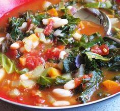 "Tuscan Bean Soup: ""A super-healthy vegetarian version of the classic Tuscan bean soup. Just three Weight Watchers Points per generous bowl."" -Jana Steinhagen"