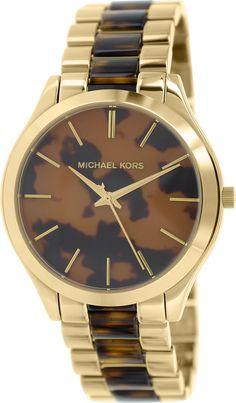 Michael Kors Watches Slim Runway Women's Watch (Gold and Horn)