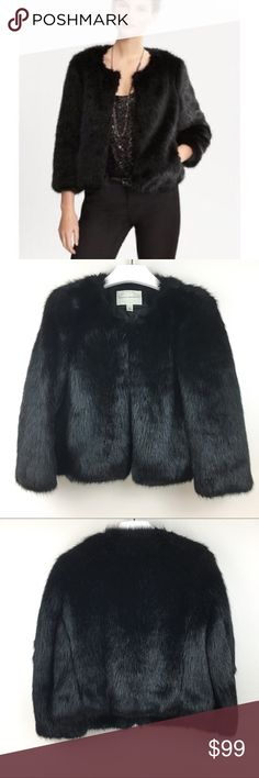 "Banana Republic Black Faux Fur Jacket Petite XS • Length: 20"" • Chest: 18"" • Two side pockets • Very nice quality, soft and shiny.  •Pre-owned: Excellent condition! See photos for condition.   ((Thank you for shopping in my closet!!) Banana Republic Jackets & Coats"