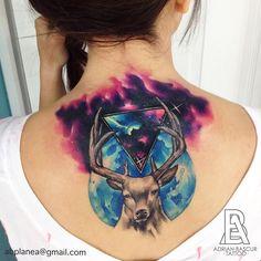 """1,270 Likes, 20 Comments - Adrian Bascur (@adrianbascur) on Instagram: """"Ciervo lunar AB #tattoo #tatuaje #adrianbascur #galaxy #galaxia #colors #ciervo #deer #star…"""""""