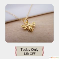 Today Only! 12% OFF this item.  Follow us on Pinterest to be the first to see our exciting Daily Deals. Today's Product: Sale - Gold Bumble Bee Necklace - Bumblebee Charm Pendant 14k Gold Filled Necklace / Gift for Her / Simple Jewelry Buy now: https://www.etsy.com/listing/218940212?utm_source=Pinterest&utm_medium=Orangetwig_Marketing&utm_campaign=Daily%20Deal   #etsy #etsyseller #etsyshop #etsylove #etsyfinds #etsygifts #musthave #loveit #instacool #shop #shopping #onlineshopping #instashop…