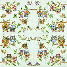 4x Single Table Lunch Party Paper Napkins for Decoupage Craft, Owl Mix