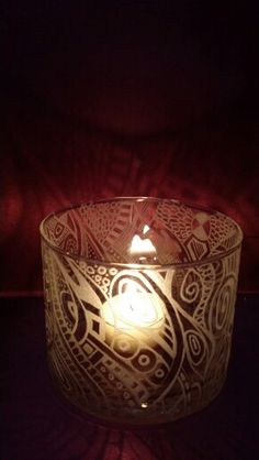 Abstract etched candle holder