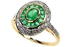 Art Deco Vintage Gold Emerald Ring, 9ct 9k, Diamond Antique Womens Emerald Ring - Also Avail in Ruby Sapphire, 14k 18k Platinum - Custom R74