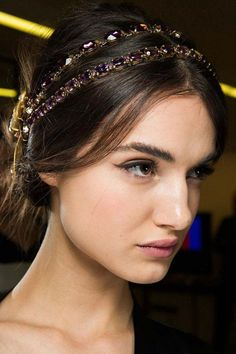 A Jeweled Headband: Even more pressed for time? Middle-part + low bun + jeweled headband = revelry ready.