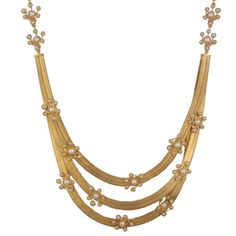 Golden Flat chain Necklace with Pearl Clusters