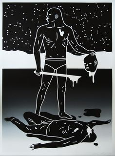 Will to Power by Cleon Peterson- The powerful warrior stick his tongue out in defiance as he holds the severed head of his still bleeding enemy and sword. Limited edition silkscreen art print artwork by famous artist Cleon Peterson. Graphic Design Illustration, Illustration Art, Artwork Prints, Fine Art Prints, Art Nouveau Tattoo, Tape Art, Illustrations Posters, Art Drawings, Art Gallery