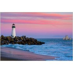 Santa Cruz BreakWater Lighthouse in Santa Cruz, California at Sunset Photography by Eazl, Size: 24 x 16, Silver