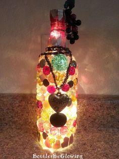Scrolled Heart Wine Bottle Light by BottlesBeGlowing on Etsy, $25.00