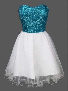 Charming Princesses Sweetheart Blue Sequined White Skirt Tulle Short Prom Dress Homecoming Dresses For Girls - Thumbnail 2 Cute Prom Dresses, Grad Dresses, Prom Gowns, Dance Dresses, Homecoming Dresses, Pretty Dresses, Evening Gowns, Beautiful Dresses, Ball Gowns