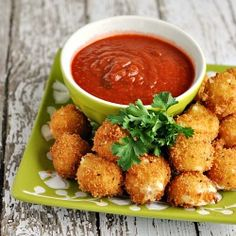 Deep fried mozzarella bites coated in ranch seasoning and panko.