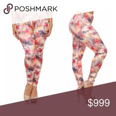 """(Plus) Floral leggings Will fit XL-3x (I would not recommend these for a size above 20). I am a 2x/16/18 and these fit me very well! Inseam measures 27"""" (full length). Rise is 10"""". Elastic waistband (unstretched) measures 26"""" (and stretches comfortably to 40""""). Extremely stretchy! 92% polyester/ 8% spandex. These are so soft and not sheer.  🙈PLEASE DO NOT PURCHASE THE 1X LISTING.  ⭐️This item is brand new in original packaging. 🚫NO TRADES 💲Price is firm unless bundled 💰Ask about bundle…"""