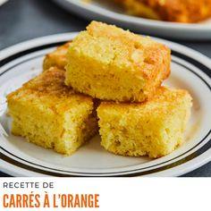 Préchauffer le four à 180°C (350°F). Placer la grille au centre du four. Tapisser un moule carré de 20 cm (8 po) de côté de papier parchemin légèrement plus large que le moule pour faciliter le démoulage. #recetteeconomique #carresalorange Croutons Maison, Just Desserts, Dessert Recipes, Loaf Cake, Cornbread, Baked Goods, Cupcake Cakes, Cupcakes, Muffins