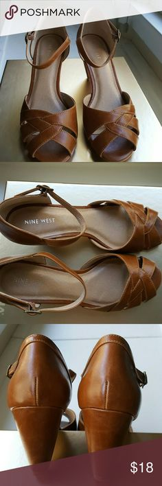 """Nine West Shoes Gently used pair of shoes from Nine West. Adjustable front strap...3"""" heel. 9 medium. Great condition. Nine West Shoes Heels"""