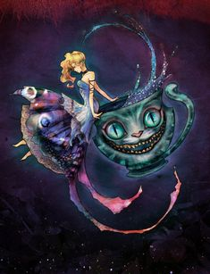 Just the teacup cat as a tattoo on top of my foot. *CHESHIRE CAT & ALICE ~ Alice in Wonderland.A Curious Cat by ~carlzeno on deviantART Art Disney, Disney Kunst, Cat Alice, We All Mad Here, Chesire Cat, Art Manga, Alice Madness, Curious Cat, Adventures In Wonderland