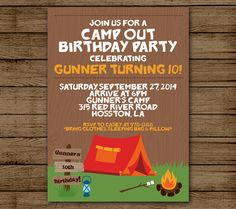 Summer fun campout party birthday invitation birthdays backyards camp out birthday invitation camping birthday party invitation camp fire invite camping invitation bonfire party digital file printable filmwisefo Image collections