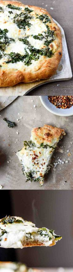 Marinated Kale And Whipped Ricotta Pizza - cheese, garlic, healthy, honey, pizza, recipes