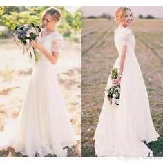 2017 Elegant Lace Beach Wedding Dresses Cheap Lace Wedding Gowns Cap Sleeves V-neck Cheap Long Country Style Bohemian Bridal Gowns Wedding Dresses Bridal Gowns 2017 Vintage Wedding Dresses Online with $178.75/Piece on Caradress's Store | DHgate.com