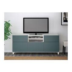 """BESTÅ TV unit, white, Valviken gray-turquoise - 70 7/8x15 3/4x29 1/8 """" - drawer runner, push-open - IKEA"""