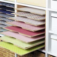 Ikea Craft Storage, Scrapbook Paper Organization, Scrapbook Paper Storage, Craft Closet Organization, Ikea Craft Room, Craft Shelves, Ikea Kallax, Kallax Hack, Construction Paper Storage