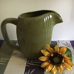 Vintage Ceramic Pitcher, Mid Century Avocado Green Juice, Milk Pitcher, Barware, Sangria Pitcher, Country Kitchen, Farm Kitchen, Retro jug by KyriesTreasureChest on Etsy