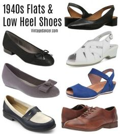 1940s style flats and low heel shoes for casual to dressy
