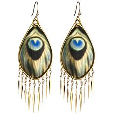 Seriously OBSESSED with this whole Fall line! Gold peacock fringe earring - Alexis Bittar