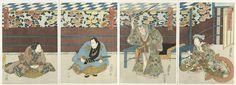 Sadamasu (II) , Utagawa | Vierluik met vier toneelspelers, Sadamasu (II) , Utagawa, Tenmaya Kihei, Kumazô, 1837 | V.l.n.r. Nakamura Karoku I als Ushiwakamaru, Mimasu Gennosuke I als yakko (dienaar) Chienai, Nakamura Tamasuke I (Utaemon III) als Kiichi Hôgen en Nakamura Tomijûrô II als Minazuru-hime, in het stuk 'Kiichi Hôgen sanryaku no maki', Naka Theater,