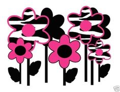 """Hot Pink Zebra Flowers Wall Mural Decals for a teen girls room. Measures 21.5"""" (54.61cm) Wide and 16.5 (41.91cm) Tall #decampstudios"""