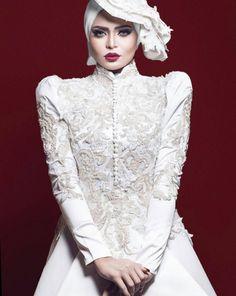 regret NOTHING! makeup by by asmaa_galal Wedding Hijab Styles, Muslim Wedding Dresses, White Wedding Gowns, Muslim Brides, Bridal Hijab, Hijab Bride, Bridal Gowns, Muslim Wedding Gown, Wedding Attire
