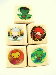 Superheroes Blocks Wood Toy Baby Shower and Nursery Decor Boy birthday toddler gift. $18.00, via Etsy.