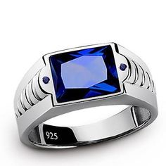Men's Real 925 Sterling Silver Gemstone Ring with Royal BLUE SAPPHIRE All Sz