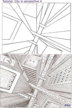 How to Draw - Tutorial: Perspective for Comic / Manga Panel Design Reference Drawing Techniques, Drawing Tips, Art Tutorials, Drawing Tutorials, Art Sketches, Art Drawings, Perspective Art, Perspective Drawing Lessons, Three Point Perspective