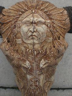 carved buffalo skulls