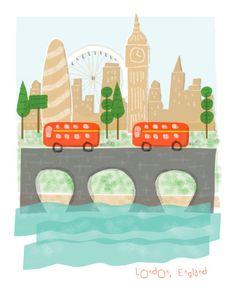 #flat #design #poster: London England art print - 11x14 - big ben city poster illustration wall decor