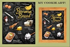 chalk board, banana bread recipe art, recipe art, kitchen décor