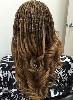 40 Ideas of Micro Braids and Invisible Braids Hairstyles - Highlighted Micro Braids With Curly Ends The Effective Pictures We Offer You About summer hair A q - Micro Braids Hairstyles, Quick Braided Hairstyles, Braided Hairstyles For Black Women, African Hairstyles, Protective Hairstyles, Ladies Hairstyles, Teenage Hairstyles, Prom Hairstyles, Braided Locs