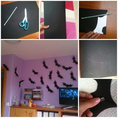 You need: Scissors, some black paper and a pencil 1. Fold you paper in half 2. Draw your bat 3. Cut out that cutie 4. Take some double sided tape and tape your bat on your wall! 5. Repeat it and you're ready for HALLOWEEN