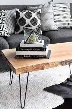 DIY Wood Slab Coffee Table