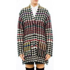 --evaChic--This Isabel Marant Diana Frayed Houndstooth Tweed Coat is a FW16 runway piece inspired by the punk movement and mostly French 80s icon Edwige Belmore. Crafted from chunky wool-blend tweed woven with alpaca and mohair in amazing bold color combo, it becomes the ultimate cozy winter coat with edgy frayed ends and a boxy fit.            http://www.evachic.com/product/isabel-marant-diana-frayed-houndstooth-tweed-coat/