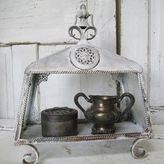 Open Display case chalky white gray terrarium style observation box ornate shabby cottage home decor anita spero